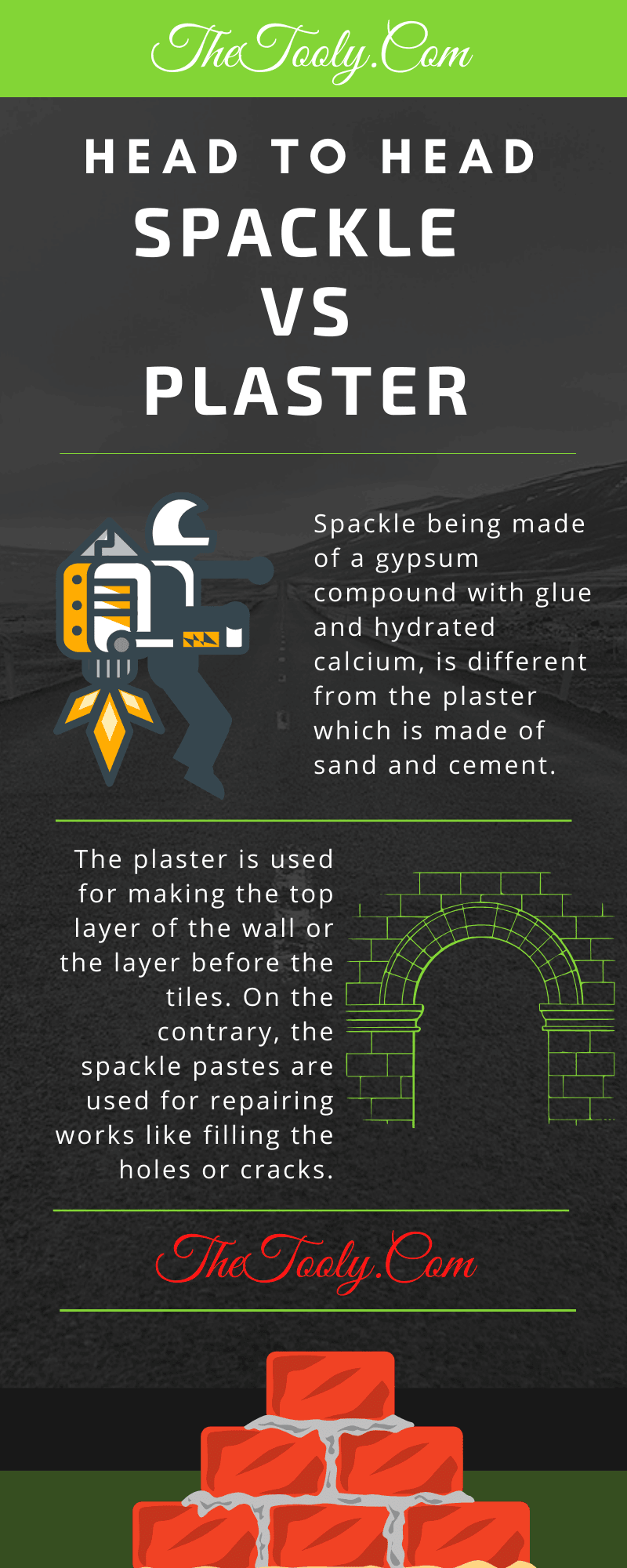 Spackle vs Plaster infographic